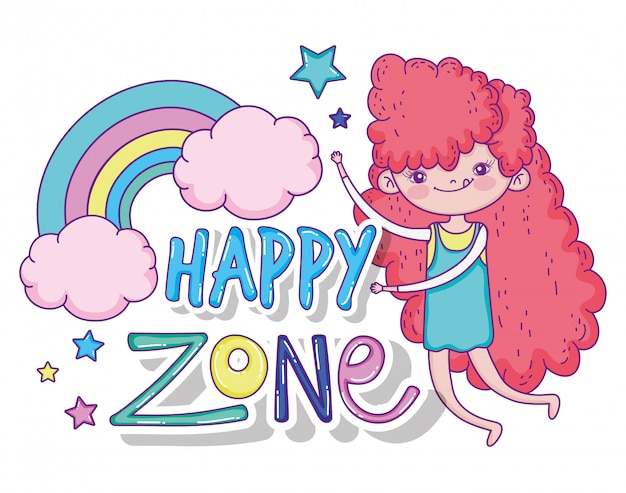 Linda garota brincando com arco-íris e estrelas
