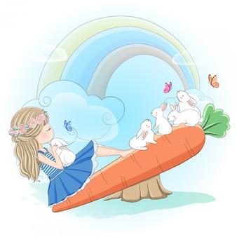 Linda garota brincando com coelho na gangorra de cenoura