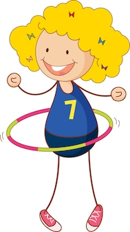 Linda garota brincando de hula hoop personagem de desenho animado na mão desenhada estilo doodle isolado