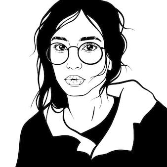 Linda garota cabelo vector ilustração óculos
