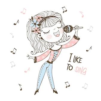 Linda garota canta uma música no microfone.