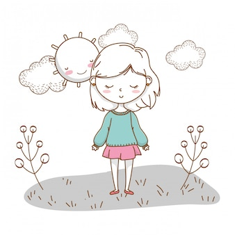 Linda garota cartoon elegante roupa natureza ensolarado