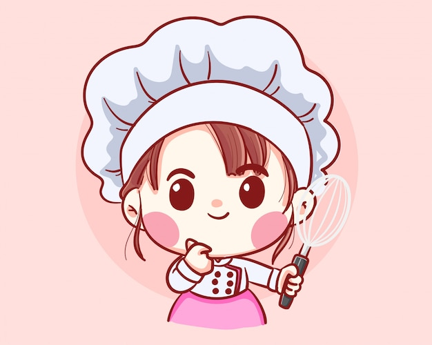 Linda garota chef de padaria segurando batedor de desenhos animados arte ilustração