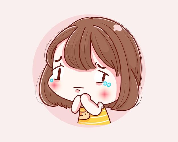 Linda garota chorando e design de personagens.