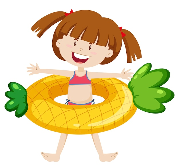 Linda garota com anel de natação de abacaxi isolado