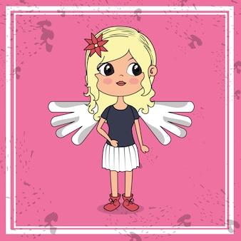 Linda garota com asas kawaii personagem