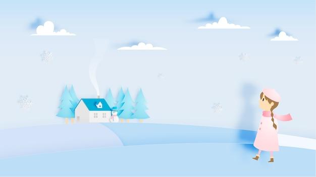 Linda garota com boneco de neve e paisagem de inverno com estilo de arte de papel e esquema de cores pastel v