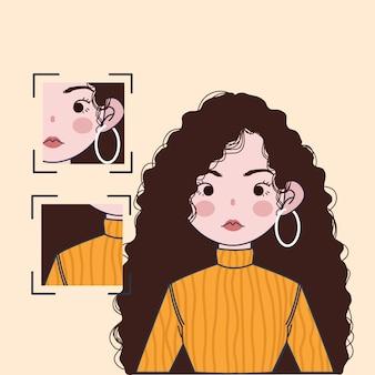 Linda garota com cabelo encaracolado e ilustração de pescoço de tartaruga laranja.