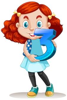 Linda garota com cabelo vermelho segurando matemática número três