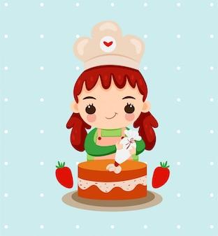 Linda garota com chapéu de chef assar bolo com frutas morango