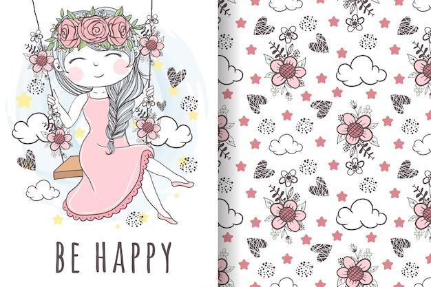 Linda garota com coroa de flores brincando no padrão sem emenda de balanço de madeira