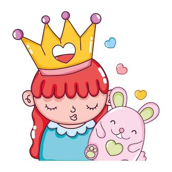 Linda garota com coroa e rato agradável