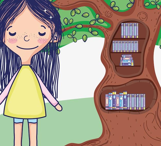 Linda garota com desenhos de biblioteca de árvore