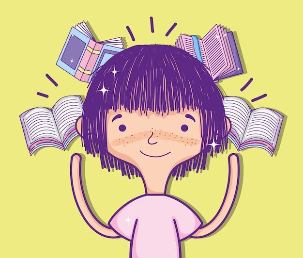 Linda garota com desenhos de livros