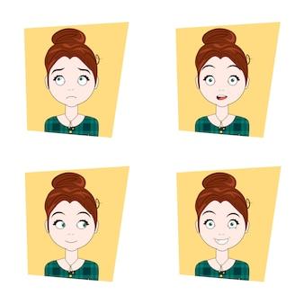 Linda garota com diferentes emoções faciais conjunto de jovem expressões faciais