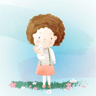 Linda garota com estilo aquarela de gato de bebê dos desenhos animados