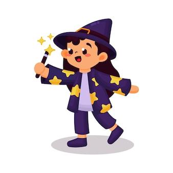 Linda garota com fantasia de bruxa halloween