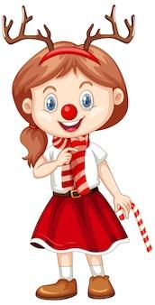 Linda garota com fantasia de natal personagem de desenho animado