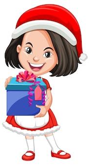 Linda garota com fantasia de natal segurando um personagem de desenho animado com uma caixa de presente
