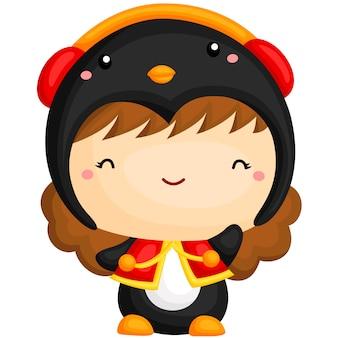 Linda garota com fantasia de pinguim
