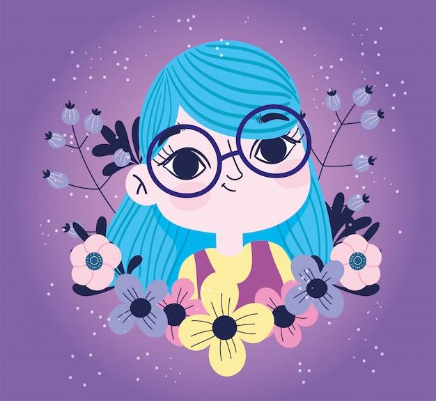 Linda garota com flores brotam botânica