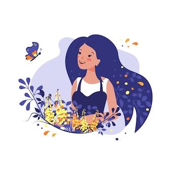Linda garota com flores e uma borboleta