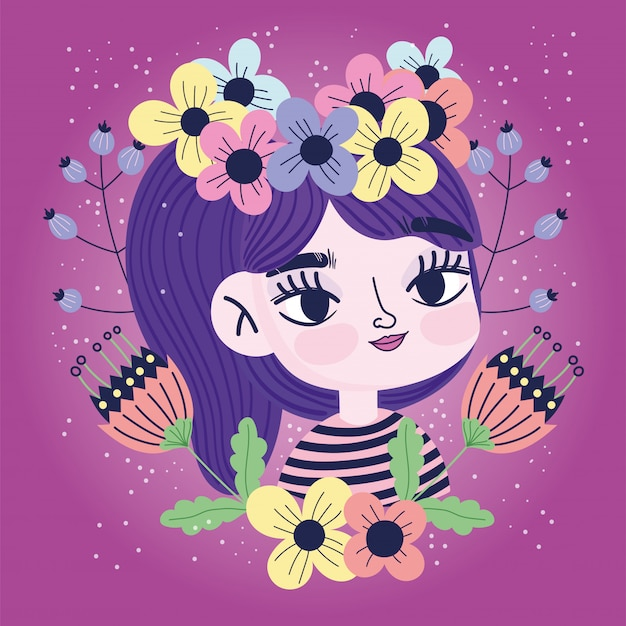 Linda garota com flores na cabeça