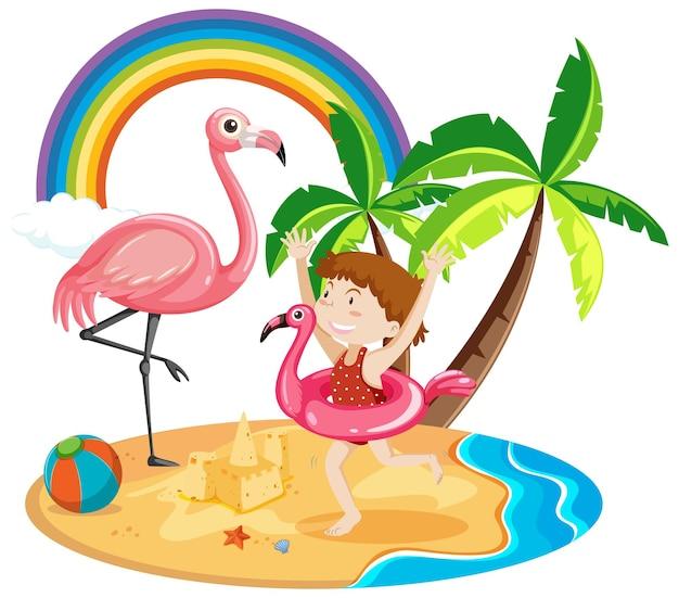 Linda garota com ícones de praia de verão isolados no fundo branco