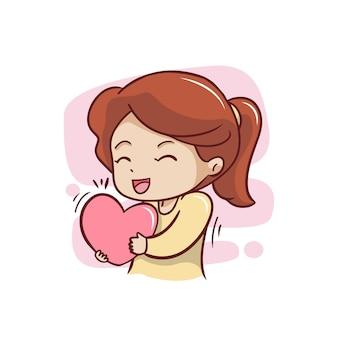Linda garota com ilustração de coração