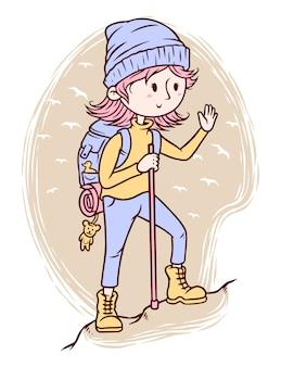 linda garota com ilustração de equipamento de caminhadas