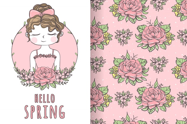 Linda garota com ilustração e padrão de flores desenhadas a mão