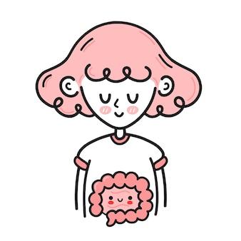 Linda garota com intestino saudável feliz por dentro
