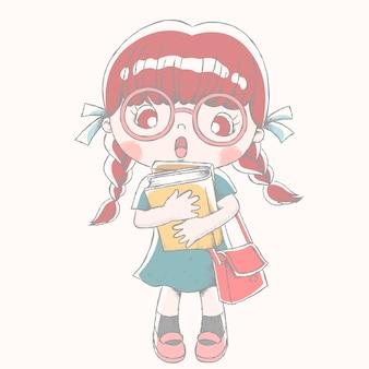 Linda garota com livro didático e bolsa escolar