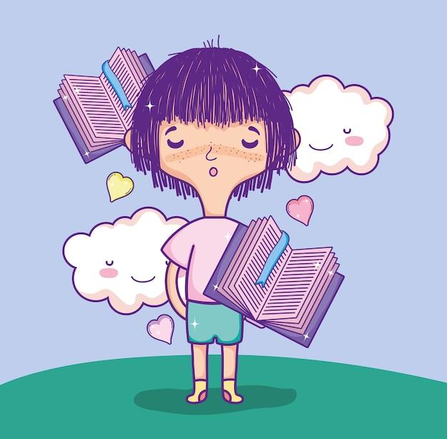 Linda garota com livros voando na natureza