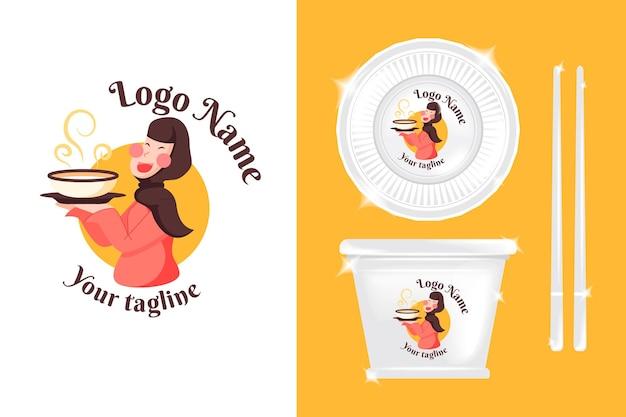 Linda garota com logotipo para negócios culinários