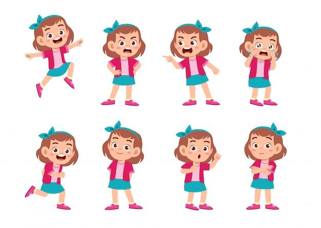 Linda garota com muitas expressões de gesto