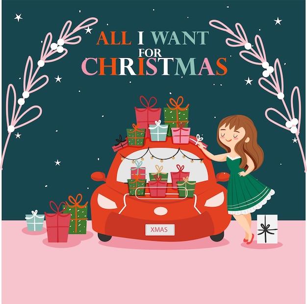 Linda garota com o carro cheio de caixa de presente para desejo de natal