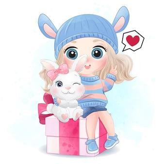 Linda garota com pequena ilustração de coelho