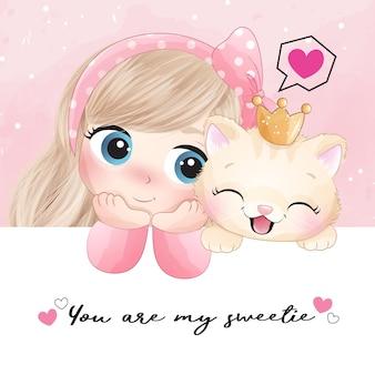Linda garota com pequena ilustração de gatinho
