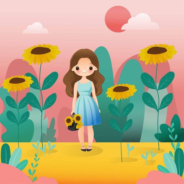 Linda garota com personagem de desenho animado de girassol