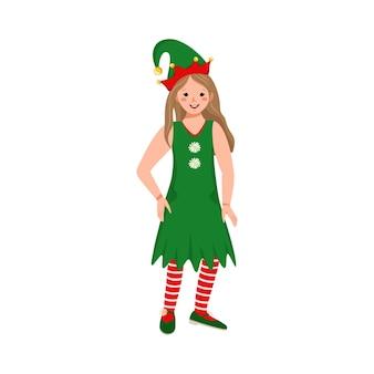 Linda garota com rosto feliz e olhos com fantasia de elfo festivo para o natal, ano novo ou feriado
