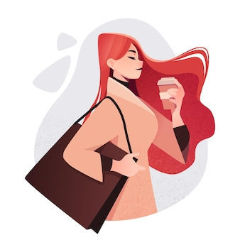 Linda garota com roupas da moda com sacolas de compras e uma xícara de café conceito de dia de compras