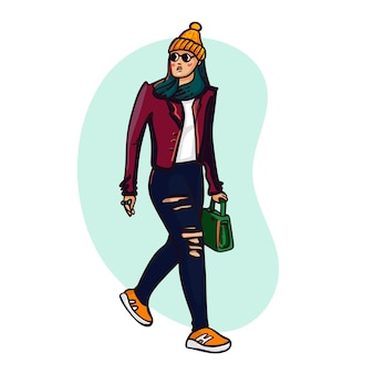 Linda garota com roupas da moda