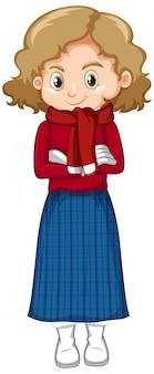 Linda garota com roupas de inverno em pé em branco