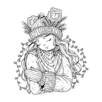 Linda garota com roupas de inverno