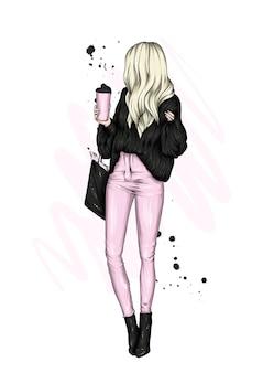 Linda garota com roupas elegantes e copos de café
