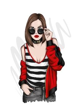 Linda garota com roupas elegantes e óculos