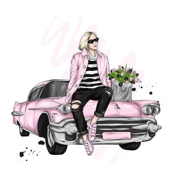 Linda garota com roupas elegantes, moda e estilo