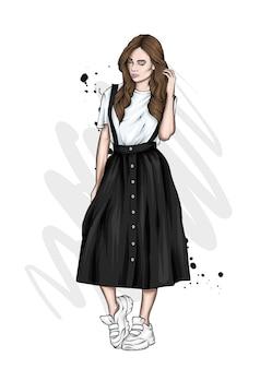Linda garota com roupas elegantes