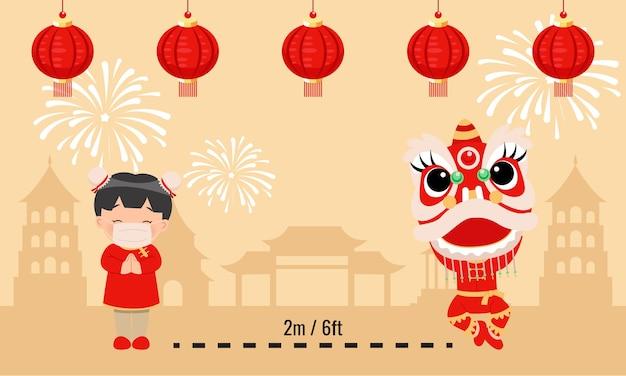 Linda garota com roupas tradicionais chinesas e dança do leão